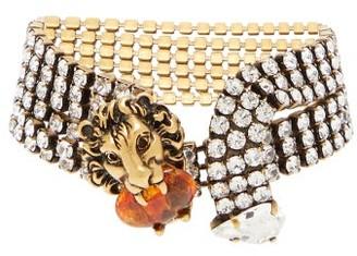 Gucci Lion Crystal-embellished Bracelet - Womens - Crystal