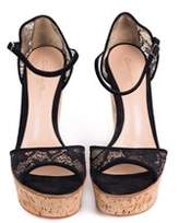 Gianvito Rossi Black Lace Cork Bottom Platform Wedge Sandals.
