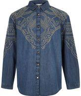 River Island Girls blue stud denim shirt