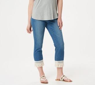 Du Jour Denim Crop Pants with Fringe Hem