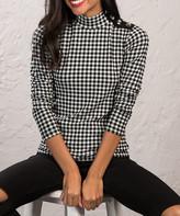 Milan Kiss Women's Blouses BLACK-WHITE - Black & White Gingham Turtleneck - Women