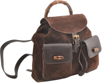 Gucci Bamboo Brown Leather Backpacks