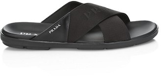 Prada Brushed Leather Logo Strap Slides