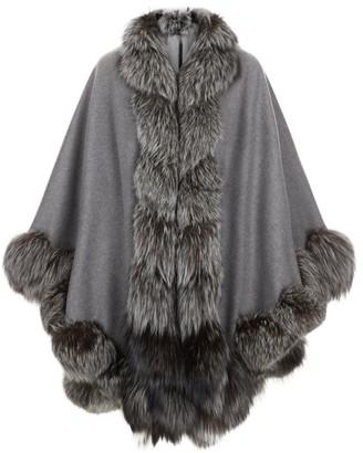 Harrods Spiral Fox Fur Trim Cape
