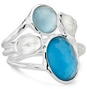 Ippolita Sterling Silver Wonderland Mother-of-Pearl & Clear Quartz Crystal Doublet Five-Stone Statement Ring