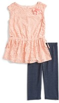 Toddler Girl's Pippa & Julie Lace Tunic & Leggings Set