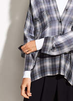 Vince Shadow Plaid Silk-Georgette V-Neck Blouse