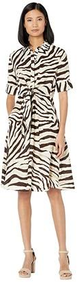 Lauren Ralph Lauren Print Linen Shirtdress (Dark Brown/Multi) Women's Clothing