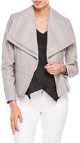 BCBGMAXAZRIA Leather Asymmetric Zip Funnel Neck Jacket