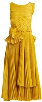 Rochas Pleated cotton and silk-blend dress