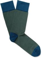 John Smedley Hera Striped Sea Island Cotton-blend Socks - Green