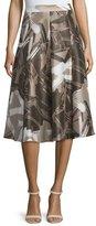 Lafayette 148 New York Boot High-Waist A-Line Printed Skirt, Hickory/Multi