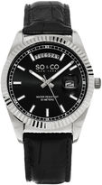 SO & CO NY Womens Madison Leather Dress Quartz Day And Date Watch J154P20