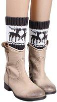 Coromose Winter Knitted Color Matching Christmas Wapiti Leg Warmers Socks Boot Cover