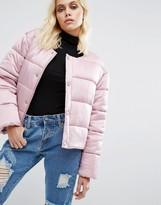 Puffa Oversized Collarless Padded Jacket Luxe Satin