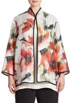Caroline Rose Poppy Bouquet Floral-Print Jacket