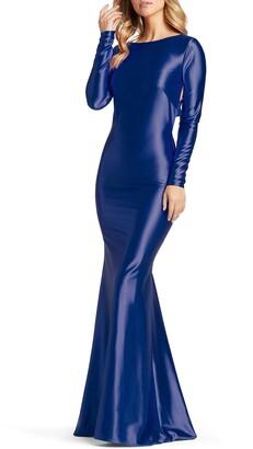Mac Duggal Long Sleeve Jersey Racerback Gown