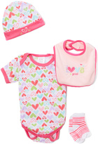 Sweet & Soft Pink Hearts Bodysuit Set - Infant