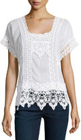 Johnny Was Short-Sleeve Lace-Inset Top, Petite