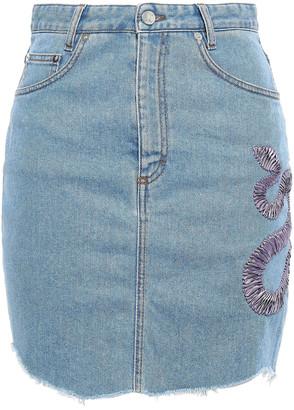 Just Cavalli Embroidered Denim Mini Skirt