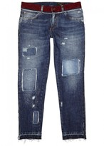 Dolce & Gabbana Navy Straight-leg Distressed Jeans