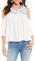 Miss Me Embroidered Cold Shoulder Top