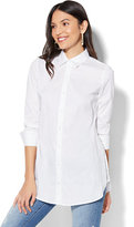 New York & Co. 7th Avenue - Madison Stretch Shirt - Side-Vent Tunic Shirt - White