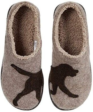 L.L. Bean L.L.Bean Daybreak Scuffs Motif (Taupe/Chocolate Dog) Women's Slippers