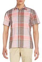 Perry Ellis Short Sleeve Cotton Plaid Shirt