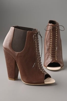 Shoes Lace Up Open Toe Ankle Bootie
