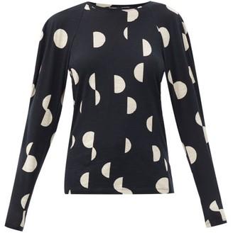 Proenza Schouler Polka-dot Cotton-jersey Long-sleeved T-shirt - Black Multi