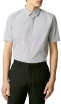 Topman Slim Fit Short Sleeve Pin Dot Shirt