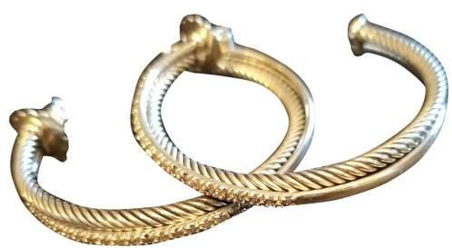 David Yurman Sterling Silver .64cts Diamond Hoop Earrings