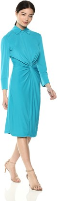 Taylor Dresses Women's 3/4 Sleeve Solid Stretch Knit Dress with Knot Front Detail