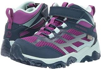 Merrell Moab FST Mid A/C Waterproof (Little Kid/Big Kid) (Navy/Turquoise) Girls Shoes