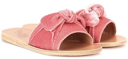 Ancient Greek Sandals Taygete Bow velvet sandals