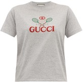 Gucci Tennis Logo-embroidered Cotton-jersey T-shirt - Womens - Grey Multi