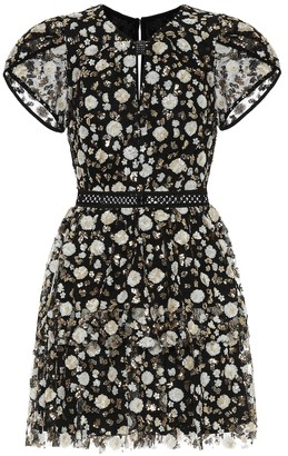 Self-Portrait Floral sequined mesh minidress