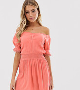 Miss Selfridge bardot dress with ruched front in pink