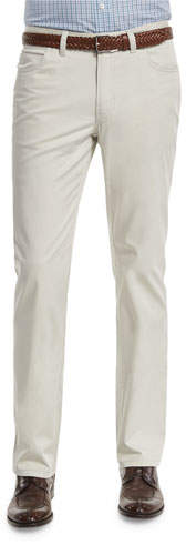 Brioni Five-Pocket Stretch Pants, Light Gray
