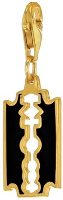 True Rocks Black Enamel & 18 Carat Gold Plated Razor Blade Charm
