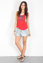 Free People Lace & Stripe Graphic Tank in Red Combo