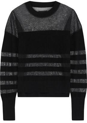 RtA Tandy Open Knit-paneled Wool-blend Sweater
