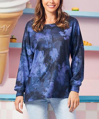 Luukse Women's Tee Shirts 103BLACK/PURPLE - Black & Purple Ombre Long-Sleeve Top - Women & Plus