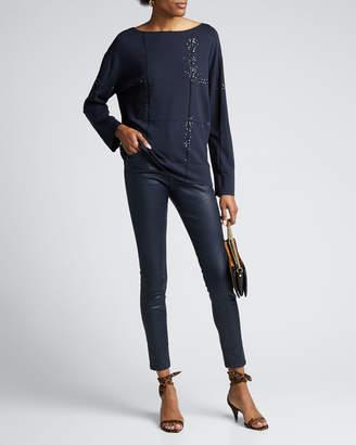 Lafayette 148 New York Bateau-Neck Embellished Matte Crepe Sweater