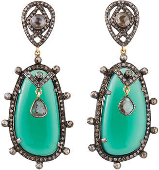 Bavna Green Onyx Drop Earrings w/ Diamonds