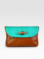 Jasmine Python & Leather Clutch