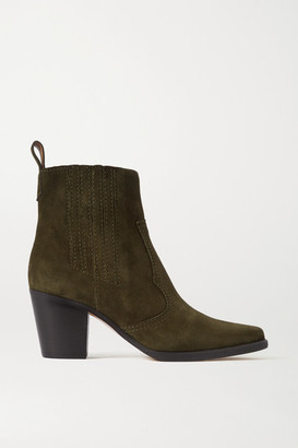 Ganni Callie Suede Ankle Boots - Army green