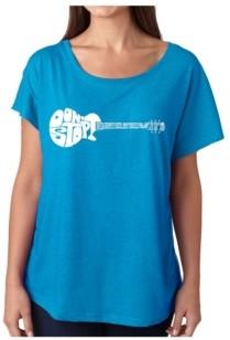 LA Pop Art Women's Dolman Cut Word Art Shirt - Don't Stop Believin'