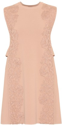 Valentino Lace trim crepe minidress